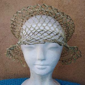 Vintage 1970s Straw Sun Hat OS